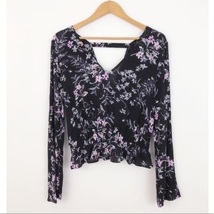 Express Black Floral Long Sleeve Blouse